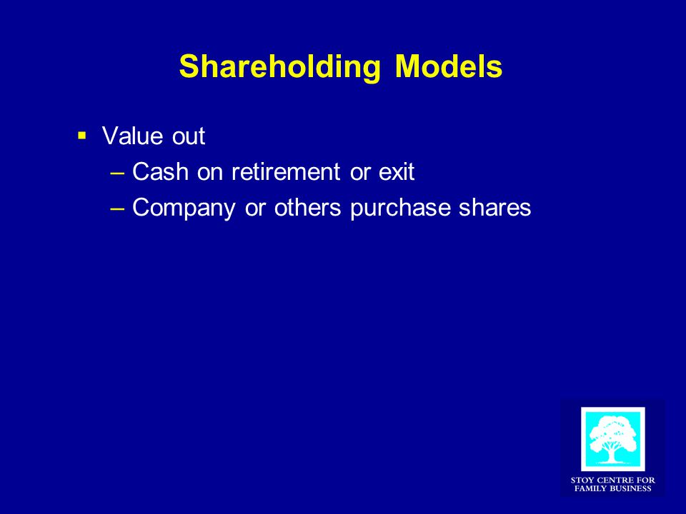 Shareholding Models  Value out –Cash on retirement or exit –Company or others purchase shares