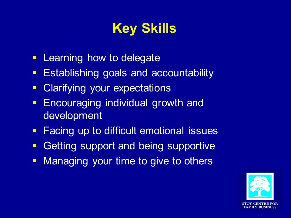 Key Skills  Learning how to delegate  Establishing goals and accountability  Clarifying your expectations  Encouraging individual growth and devel