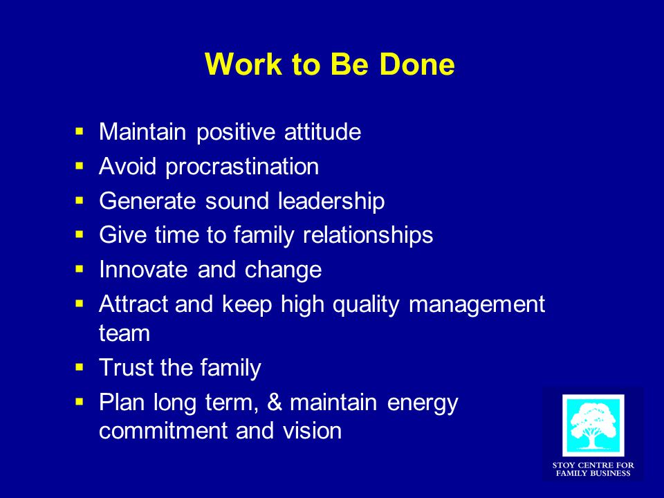 Work to Be Done  Maintain positive attitude  Avoid procrastination  Generate sound leadership  Give time to family relationships  Innovate and change  Attract and keep high quality management team  Trust the family  Plan long term, & maintain energy commitment and vision