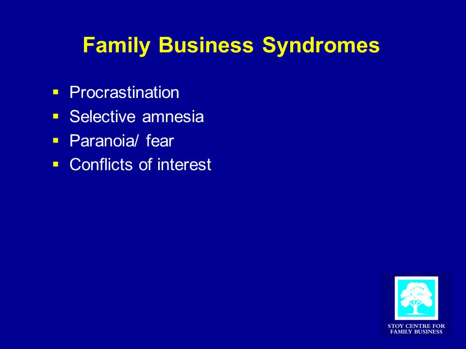 Family Business Syndromes  Procrastination  Selective amnesia  Paranoia/ fear  Conflicts of interest