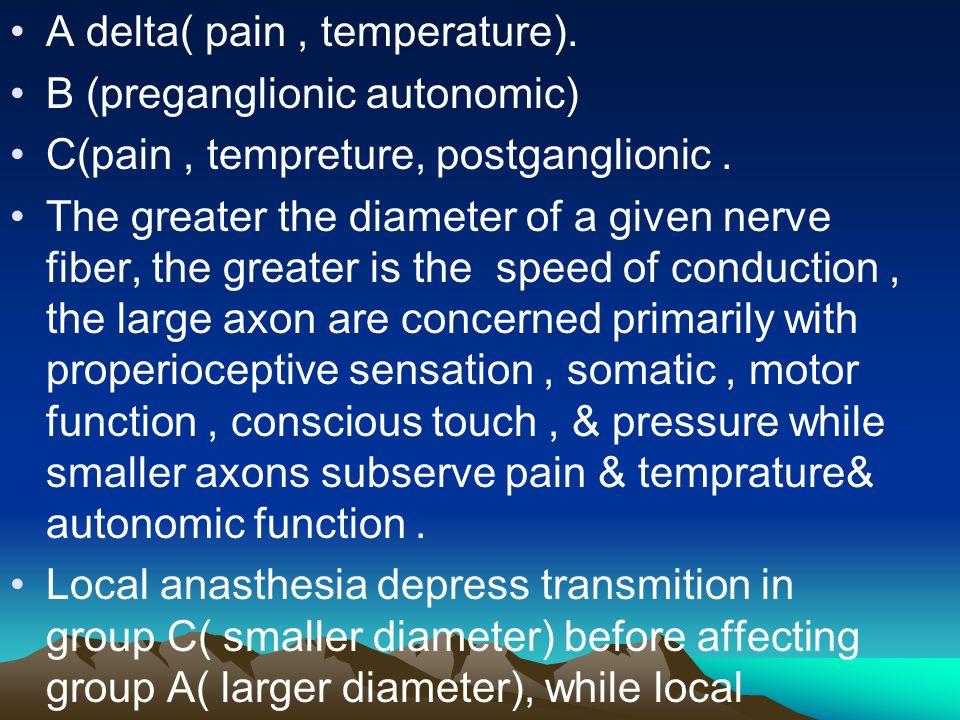 A delta( pain, temperature). B (preganglionic autonomic) C(pain, tempreture, postganglionic. The greater the diameter of a given nerve fiber, the grea