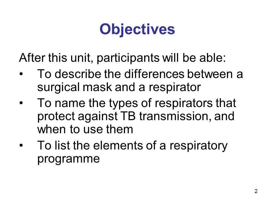 13 European standards* Total inward leakage Filtering Face Piece TB protection <25%FFP1Not adequate <11%FFP2 ✓ <5%FFP3 ✓ *Comité Européen de Normalisation (CEN) (European Committee for Standardization)