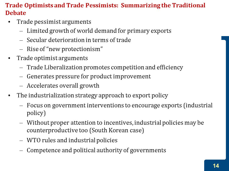 14 Trade Optimists and Trade Pessimists: Summarizing the Traditional Debate Trade pessimist arguments – Limited growth of world demand for primary exports – Secular deterioration in terms of trade – Rise of new protectionism Trade optimist arguments – Trade Liberalization promotes competition and efficiency – Generates pressure for product improvement – Accelerates overall growth The industrialization strategy approach to export policy – Focus on government interventions to encourage exports (industrial policy) – Without proper attention to incentives, industrial policies may be counterproductive too (South Korean case) – WTO rules and industrial policies – Competence and political authority of governments