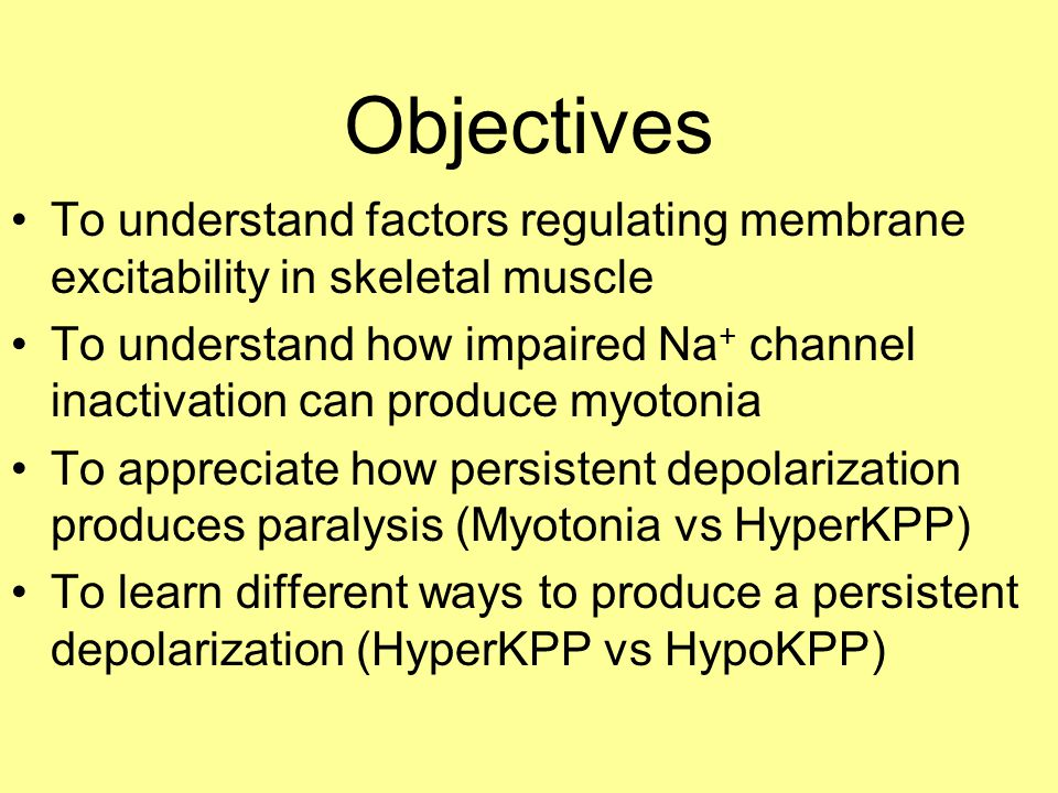 Impaired fast inactivation can produce myotonia 1 msec Note: Loss of inactivation in a small % of channels → myotonia Myotonia stopped in part due to accumulated slow inactivation