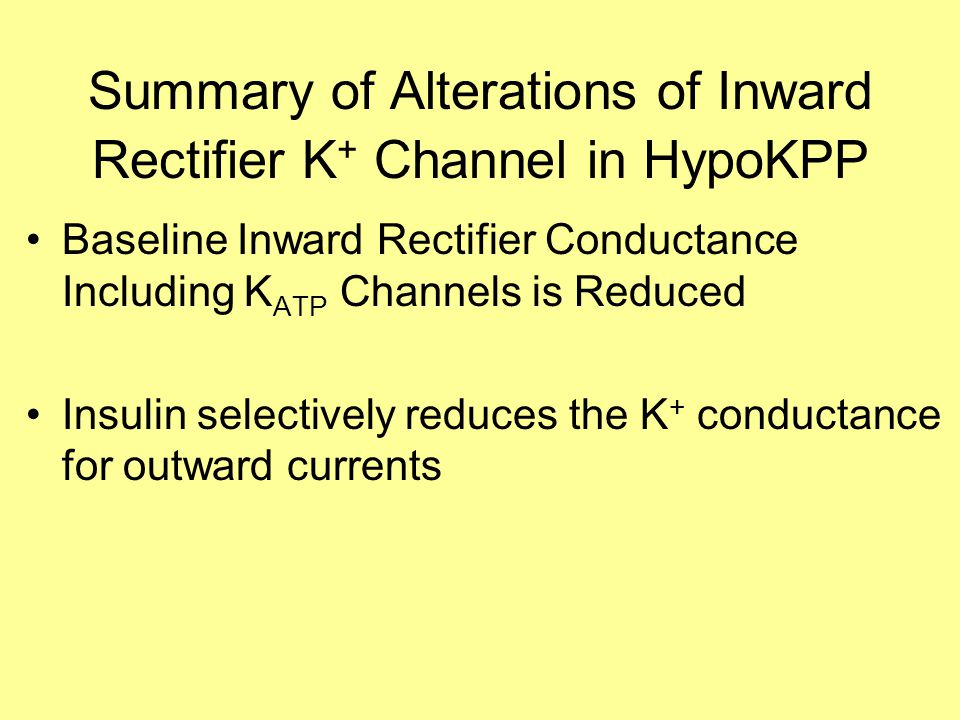 Summary of Alterations of Inward Rectifier K + Channel in HypoKPP Baseline Inward Rectifier Conductance Including K ATP Channels is Reduced Insulin selectively reduces the K + conductance for outward currents