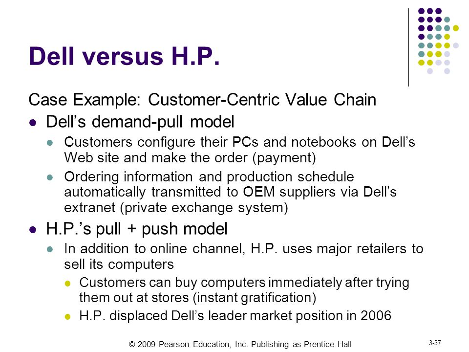 © 2009 Pearson Education, Inc.Publishing as Prentice Hall 3-37 Dell versus H.P.