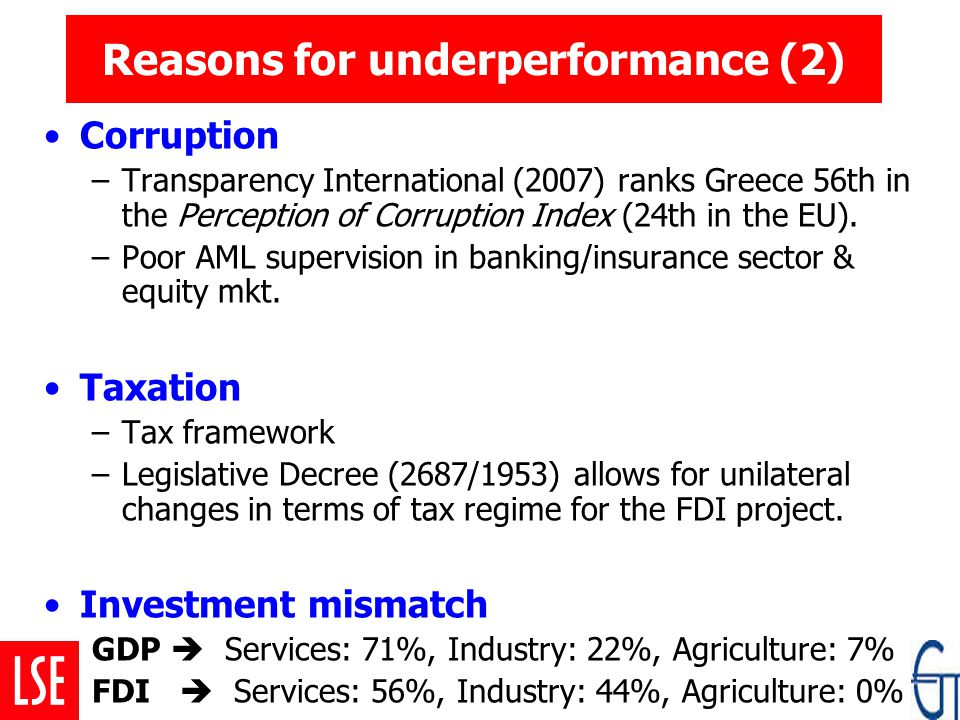 Reasons for underperformance (2) Corruption –Transparency International (2007) ranks Greece 56th in the Perception of Corruption Index (24th in the EU).