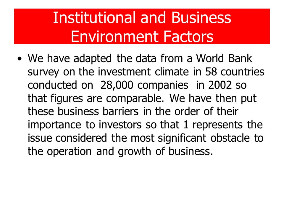 Institutional and Business Environment Factors We have adapted the data from a World Bank survey on the investment climate in 58 countries conducted on 28,000 companies in 2002 so that figures are comparable.