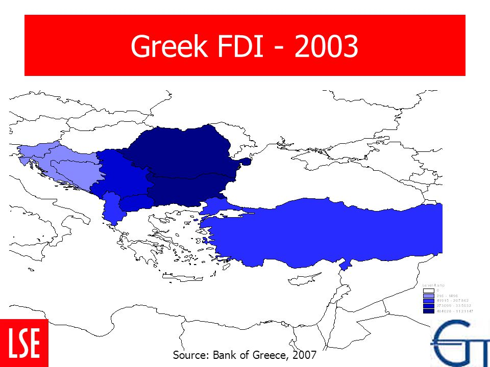 Greek FDI - 2003 Source: Bank of Greece, 2007