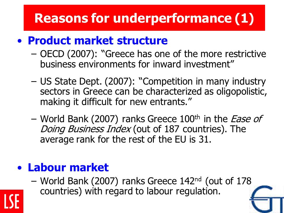 Reasons for underperformance (1) Product market structure –OECD (2007): Greece has one of the more restrictive business environments for inward investment –US State Dept.