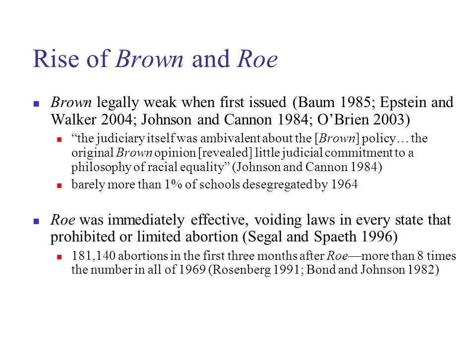 Brown legally weak when first issued (Baum 1985; Epstein and Walker 2004; Johnson and Cannon 1984; O'Brien 2003) the judiciary itself was ambivalent about the [Brown] policy… the original Brown opinion [revealed] little judicial commitment to a philosophy of racial equality (Johnson and Cannon 1984) barely more than 1% of schools desegregated by 1964 Roe was immediately effective, voiding laws in every state that prohibited or limited abortion (Segal and Spaeth 1996) 181,140 abortions in the first three months after Roe—more than 8 times the number in all of 1969 (Rosenberg 1991; Bond and Johnson 1982)
