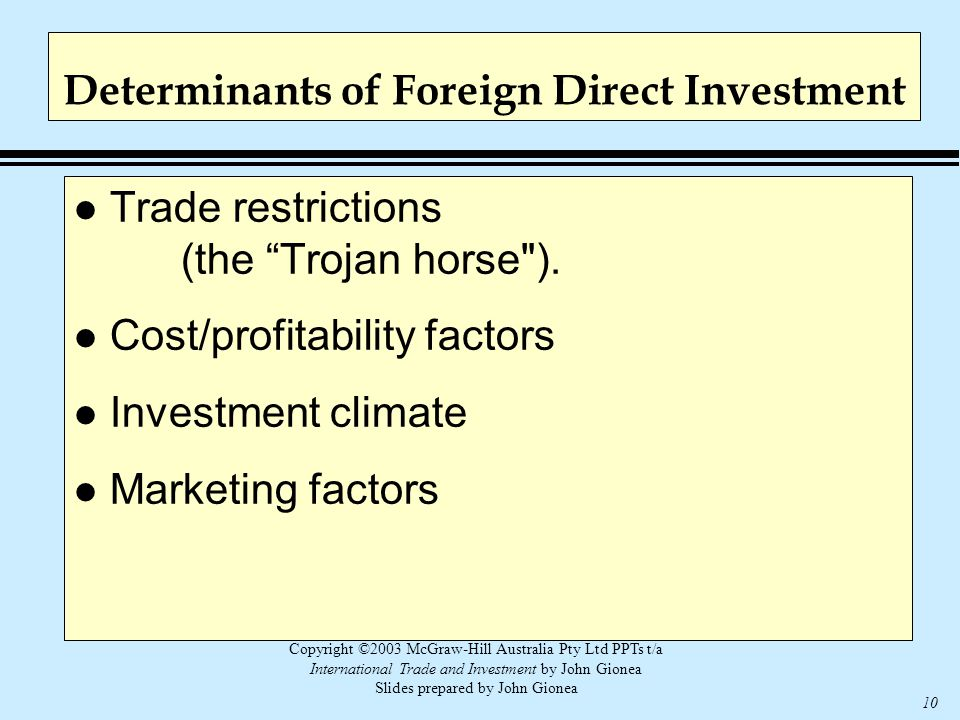Copyright ©2003 McGraw-Hill Australia Pty Ltd PPTs t/a International Trade and Investment by John Gionea Slides prepared by John Gionea 10 Determinant