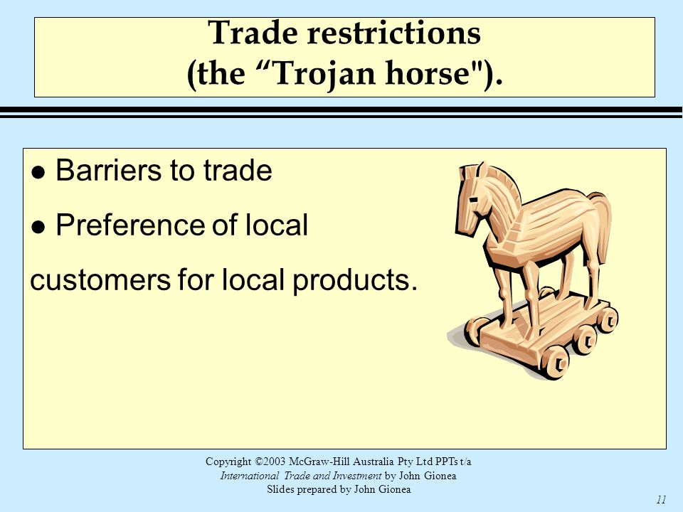 Copyright ©2003 McGraw-Hill Australia Pty Ltd PPTs t/a International Trade and Investment by John Gionea Slides prepared by John Gionea 11 Trade restrictions (the Trojan horse ).