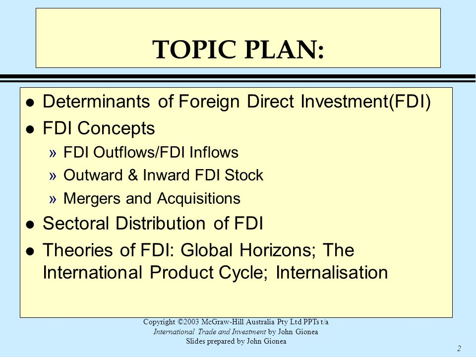 Copyright ©2003 McGraw-Hill Australia Pty Ltd PPTs t/a International Trade and Investment by John Gionea Slides prepared by John Gionea 2 TOPIC PLAN: