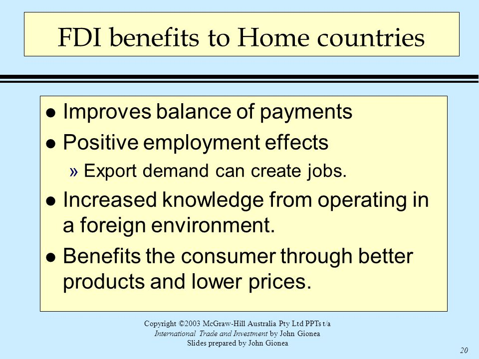 Copyright ©2003 McGraw-Hill Australia Pty Ltd PPTs t/a International Trade and Investment by John Gionea Slides prepared by John Gionea 20 FDI benefit