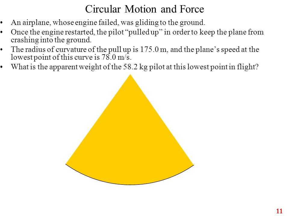 "11 Circular Motion and Force An airplane, whose engine failed, was gliding to the ground. Once the engine restarted, the pilot ""pulled up"" in order to"