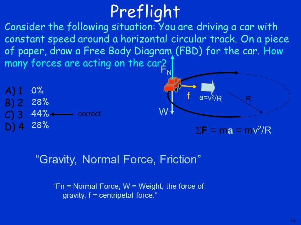 Preflight Consider the following situation: You are driving a car with constant speed around a horizontal circular track. On a piece of paper, draw a