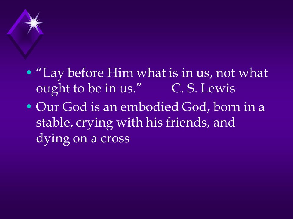 Lay before Him what is in us, not what ought to be in us. C.