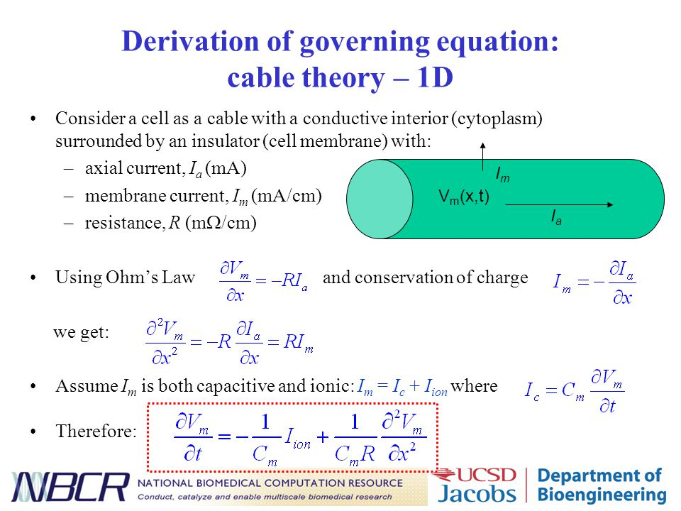 Derivation of governing equation: cable theory – 1D Consider a cell as a cable with a conductive interior (cytoplasm) surrounded by an insulator (cell membrane) with: –axial current, I a (mA) –membrane current, I m (mA/cm) –resistance, R (m  /cm) Using Ohm's Law and conservation of charge we get: Assume I m is both capacitive and ionic: I m = I c + I ion where Therefore: V m (x,t) IaIa ImIm