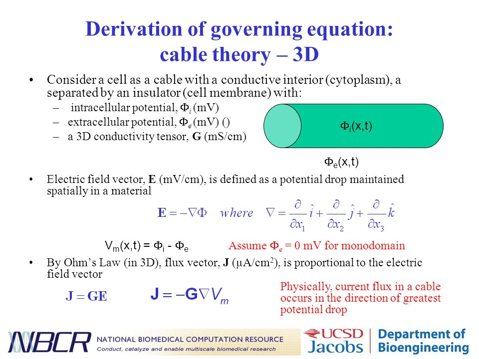 Derivation of governing equation: cable theory – 3D Consider a cell as a cable with a conductive interior (cytoplasm), a separated by an insulator (cell membrane) with: – intracellular potential,  i (mV) –extracellular potential,  e (mV) () –a 3D conductivity tensor, G (mS/cm) Electric field vector, E (mV/cm), is defined as a potential drop maintained spatially in a material By Ohm's Law (in 3D), flux vector, J (µA/cm 2 ), is proportional to the electric field vector Physically, current flux in a cable occurs in the direction of greatest potential drop V m (x,t) =  i -  e  i (x,t)  e (x,t) Assume  e = 0 mV for monodomain