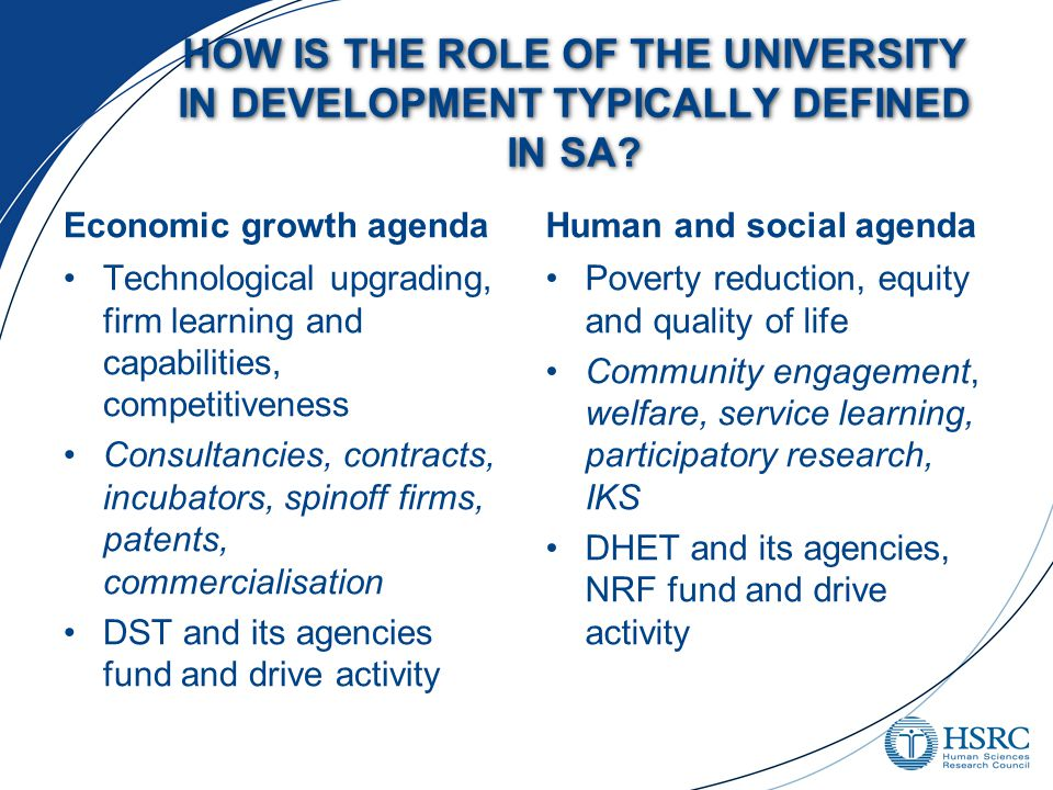 HOW IS THE ROLE OF THE UNIVERSITY IN DEVELOPMENT TYPICALLY DEFINED IN SA.