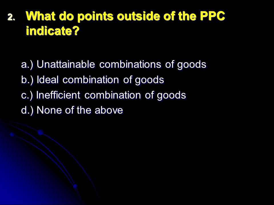 2. What do points outside of the PPC indicate.