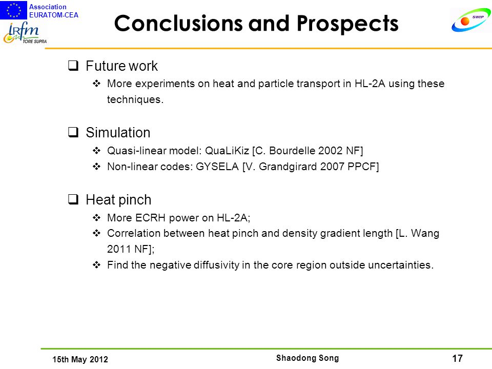 17 15th May 2012 Association EURATOM-CEA Shaodong Song Conclusions and Prospects  Future work  More experiments on heat and particle transport in HL-2A using these techniques.