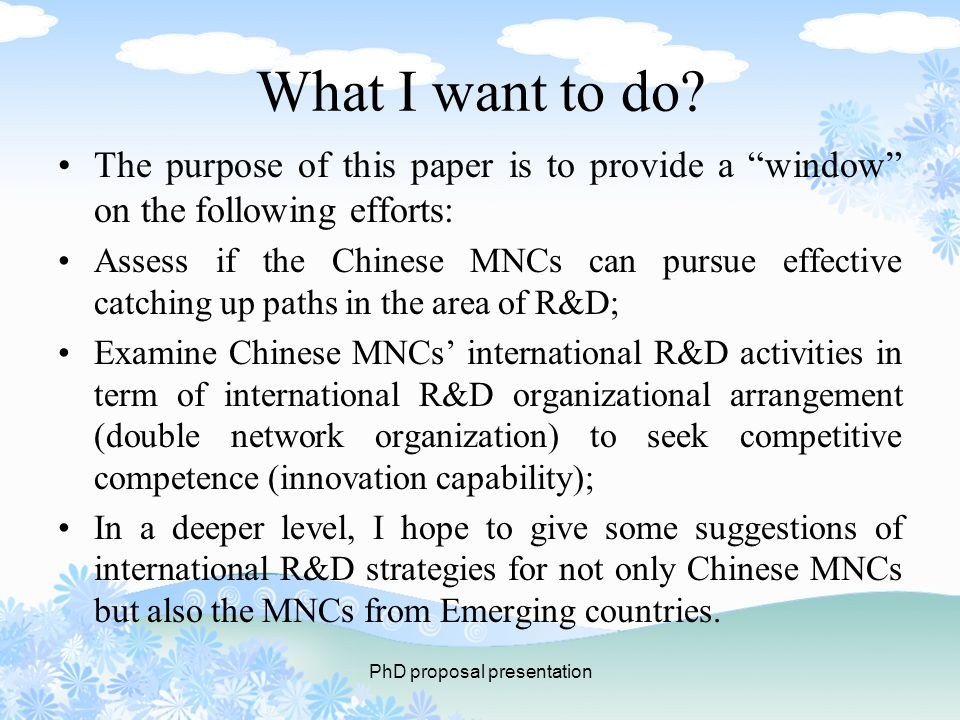 PhD proposal presentation What I want to do.