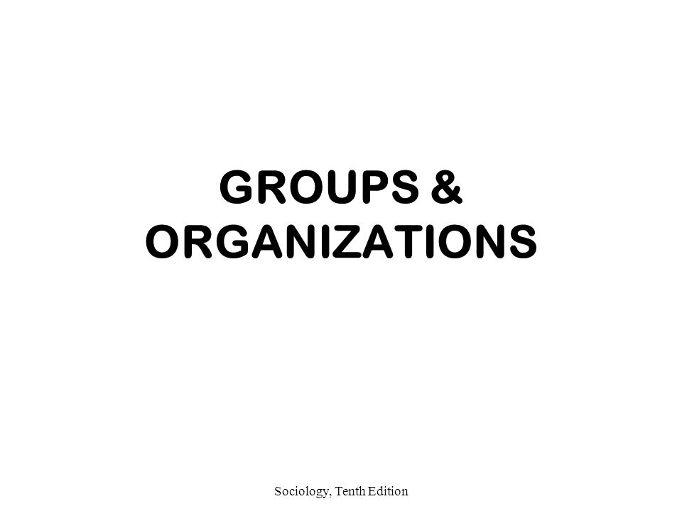 Sociology, Tenth Edition GROUPS & ORGANIZATIONS