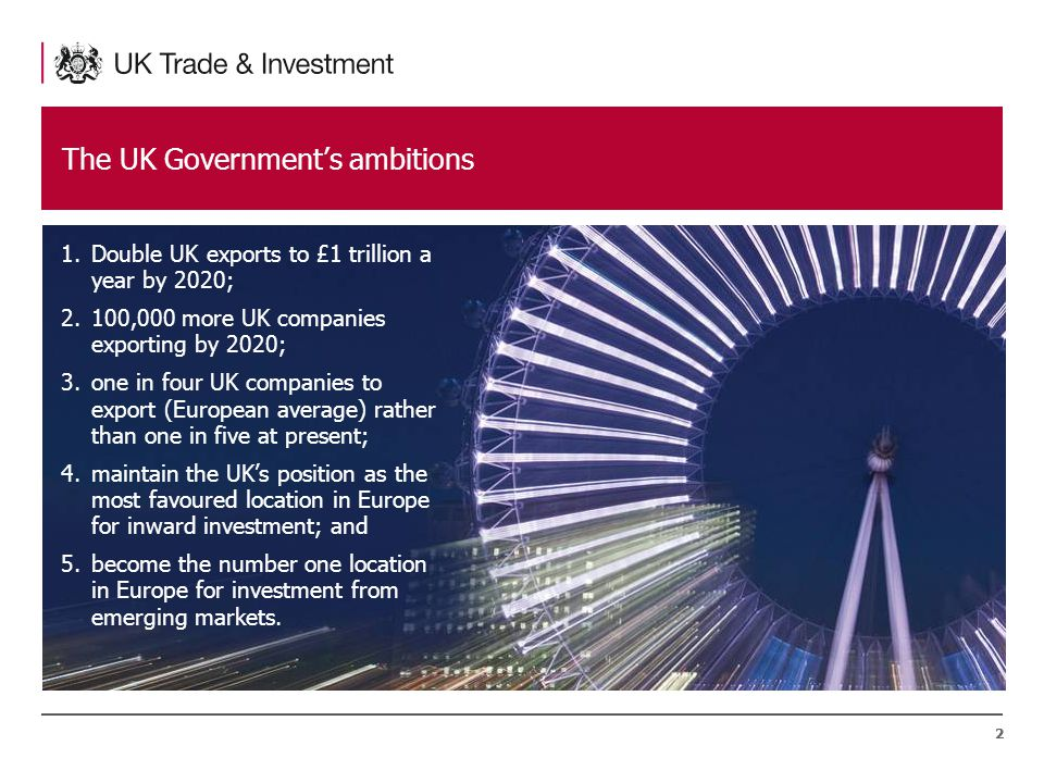 22 The UK Government's ambitions 1.Double UK exports to £1 trillion a year by 2020; 2.100,000 more UK companies exporting by 2020; 3.one in four UK companies to export (European average) rather than one in five at present; 4.maintain the UK's position as the most favoured location in Europe for inward investment; and 5.become the number one location in Europe for investment from emerging markets.