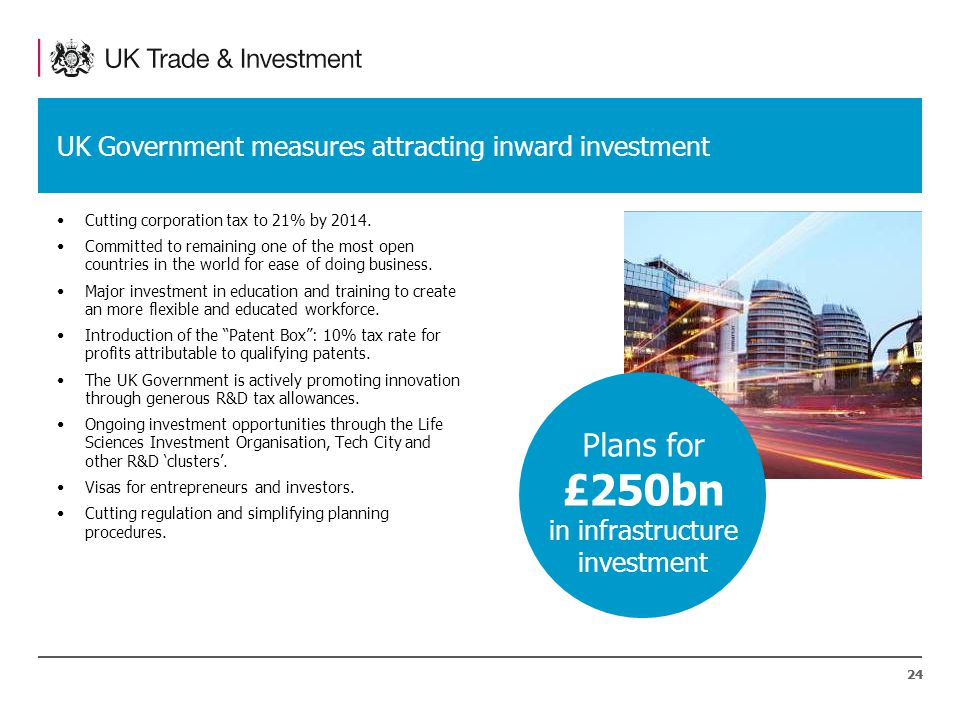 24 UK Government measures attracting inward investment Cutting corporation tax to 21% by 2014.
