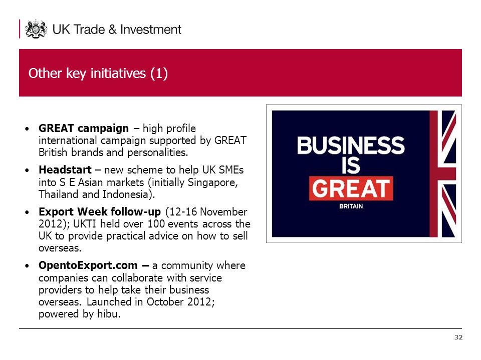 32 Other key initiatives (1) GREAT campaign – high profile international campaign supported by GREAT British brands and personalities.