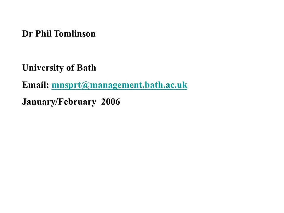 Dr Phil Tomlinson University of Bath Email: mnsprt@management.bath.ac.ukmnsprt@management.bath.ac.uk January/February 2006