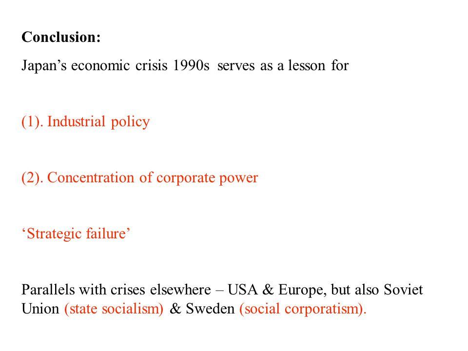 Conclusion: Japan's economic crisis 1990s serves as a lesson for (1).