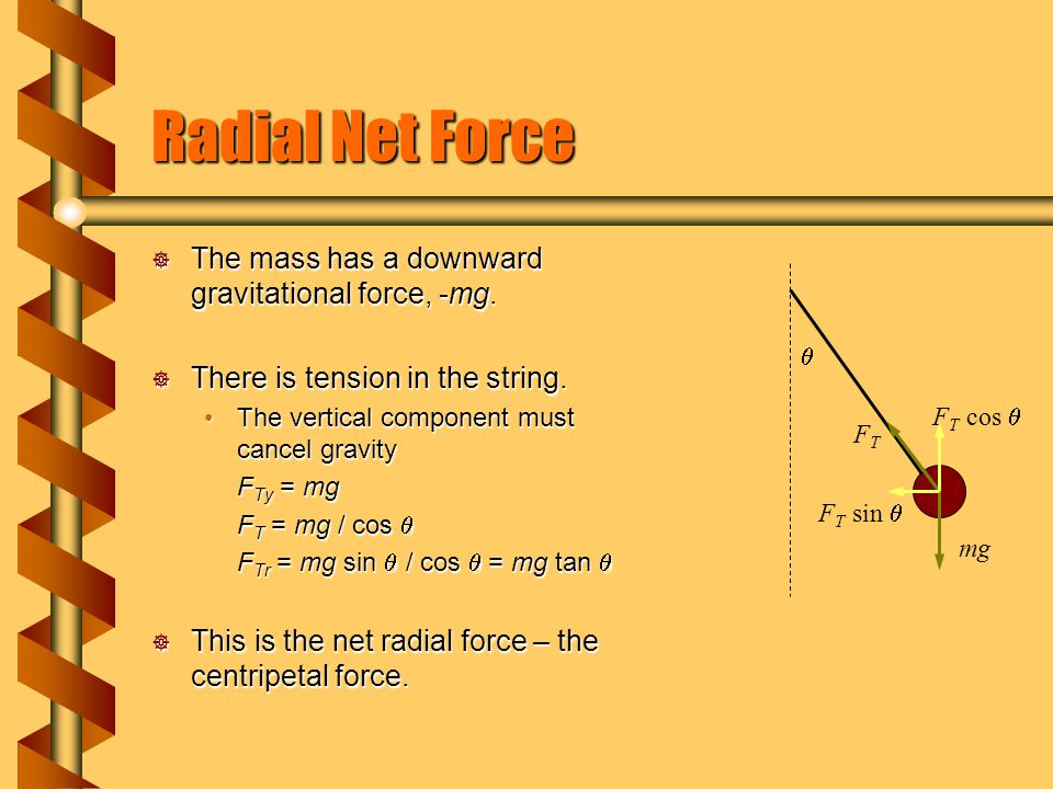 Radial Net Force  The mass has a downward gravitational force, -mg.  There is tension in the string. The vertical component must cancel gravityThe v