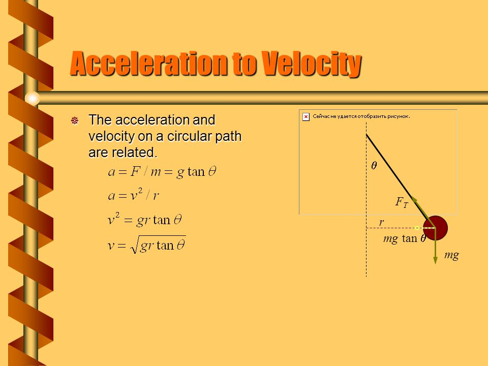 Period of Revolution  The pendulum period is related to the speed and radius.