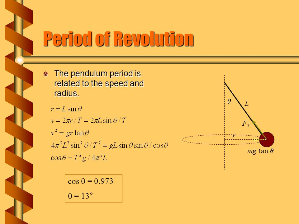 Period of Revolution  The pendulum period is related to the speed and radius. FTFT mg tan   r L cos  = 0.973  = 13 °