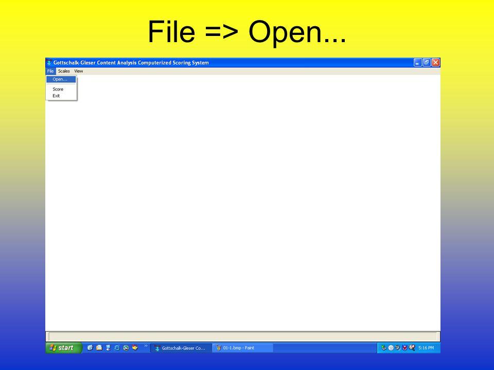 File => Open...