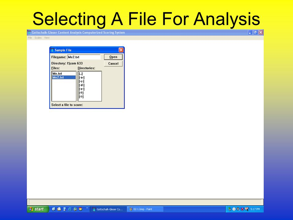 Selecting A File For Analysis