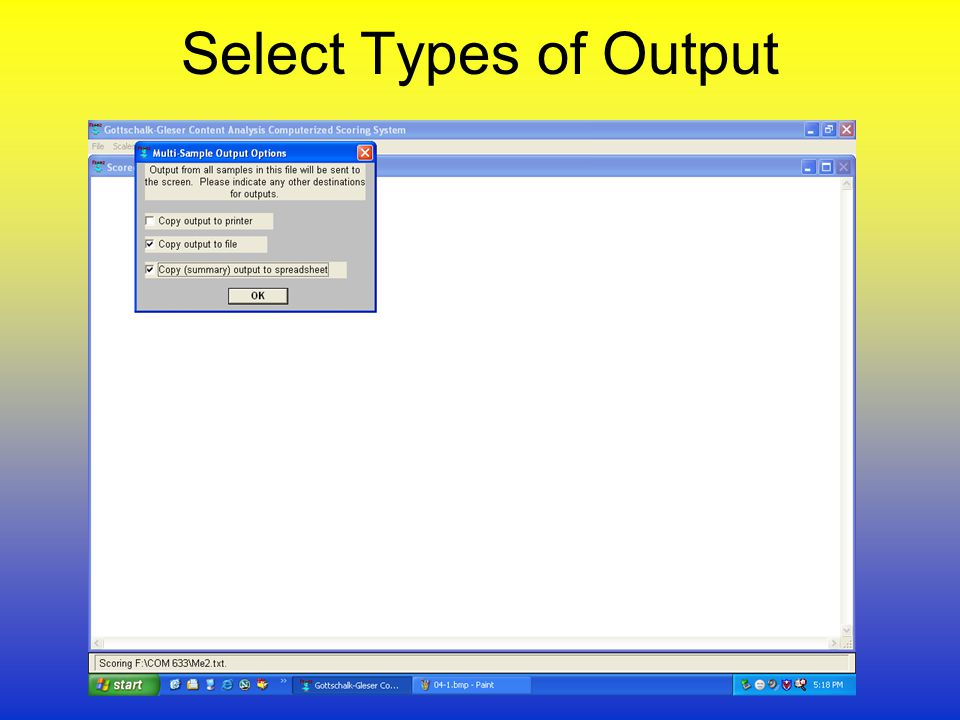 Select Types of Output