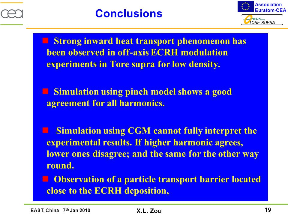 19 Association Euratom-CEA TORE SUPRA EAST, China 7 th Jan 2010 X.L. Zou Conclusions Strong inward heat transport phenomenon has been observed in off-