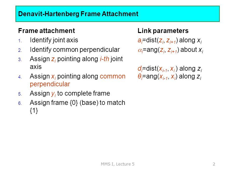 MMS I, Lecture 52 Denavit-Hartenberg Frame Attachment Frame attachment 1.