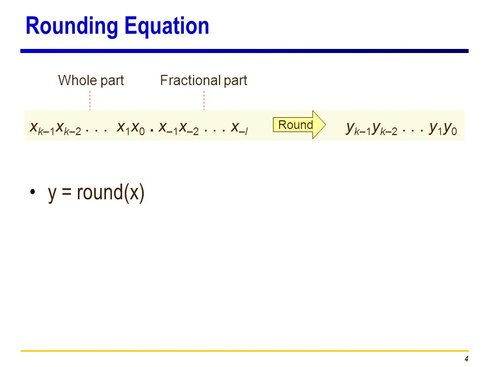 4 Rounding Equation y = round(x) Fractional partWhole part x k–1 x k–2...