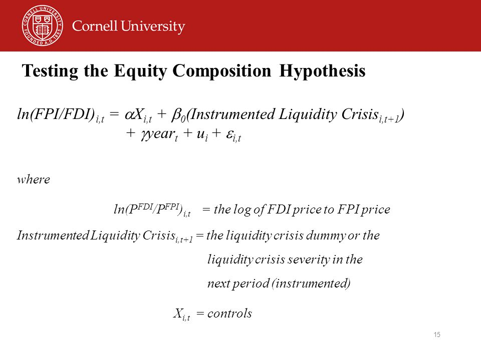 15 Testing the Equity Composition Hypothesis ln(FPI/FDI) i,t =  X i,t +  0 (Instrumented Liquidity Crisis i,t+1 ) +  year t + u i +  i,t where ln(P FDI /P FPI ) i,t = the log of FDI price to FPI price Instrumented Liquidity Crisis i,t+1 = the liquidity crisis dummy or the liquidity crisis severity in the next period (instrumented) X i,t = controls
