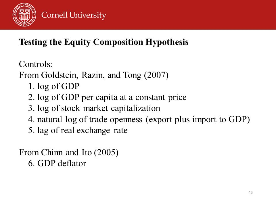 16 Testing the Equity Composition Hypothesis Controls: From Goldstein, Razin, and Tong (2007) 1.