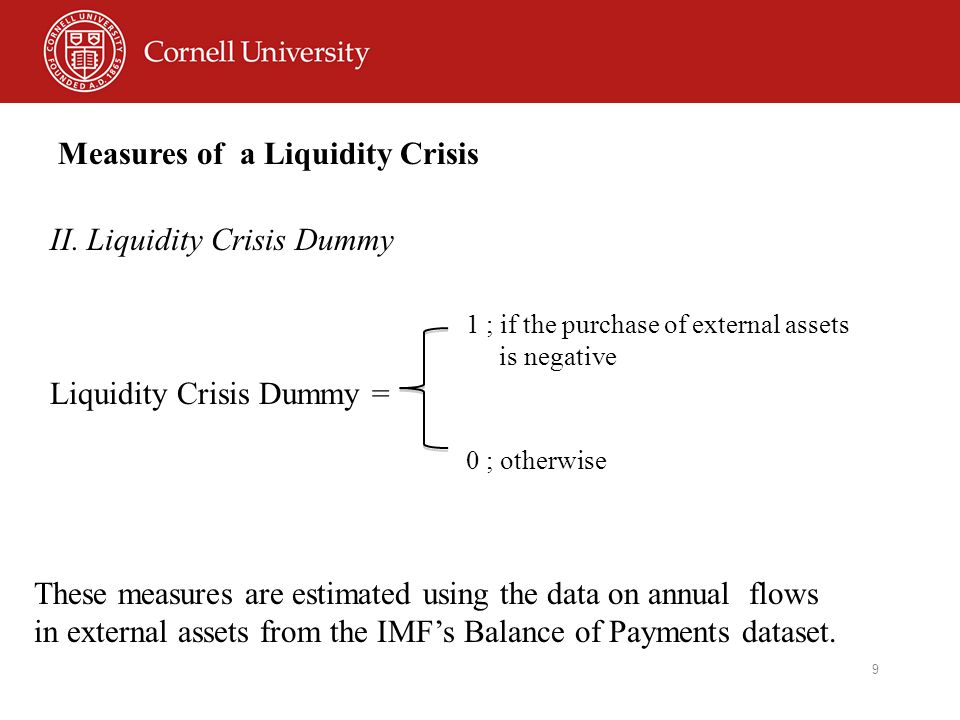 9 Measures of a Liquidity Crisis I.