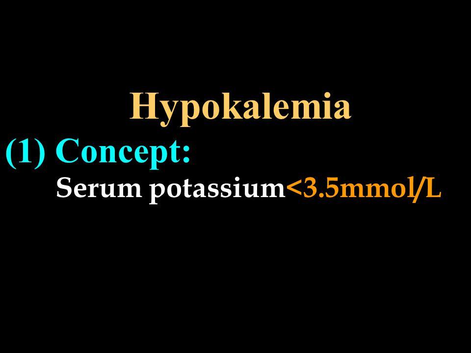 Hypokalemia (1) Concept: Serum potassium<3.5mmol/L