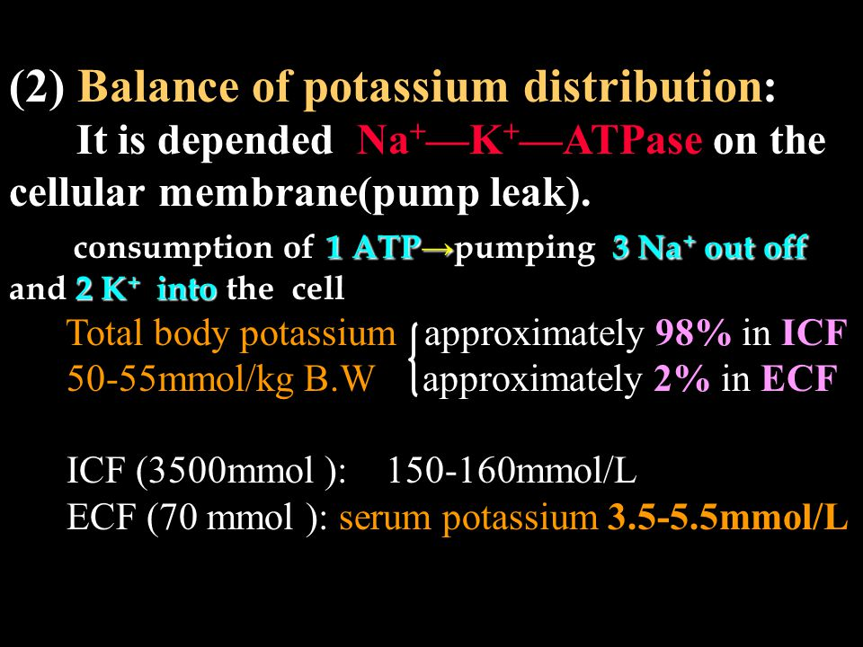 (2) Balance of potassium distribution: It is depended Na + —K + —ATPase on the cellular membrane(pump leak).
