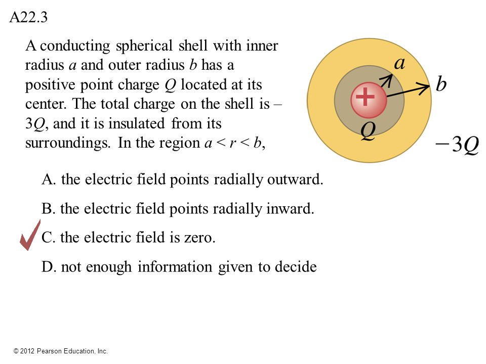 © 2012 Pearson Education, Inc. A conducting spherical shell with inner radius a and outer radius b has a positive point charge Q located at its center