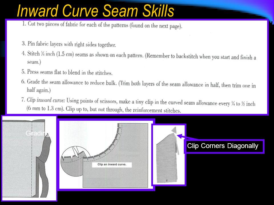 Inward Curve Seam Skills Grading Clip Corners Diagonally